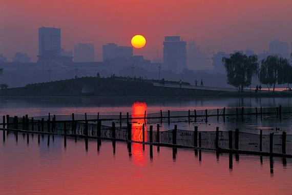 Hangzhou : Coucher de soleil � Hangzhou - Chine