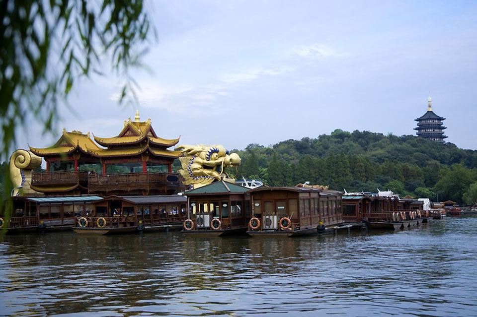 At West Lake you can see the Six Harmonies Pagoda.