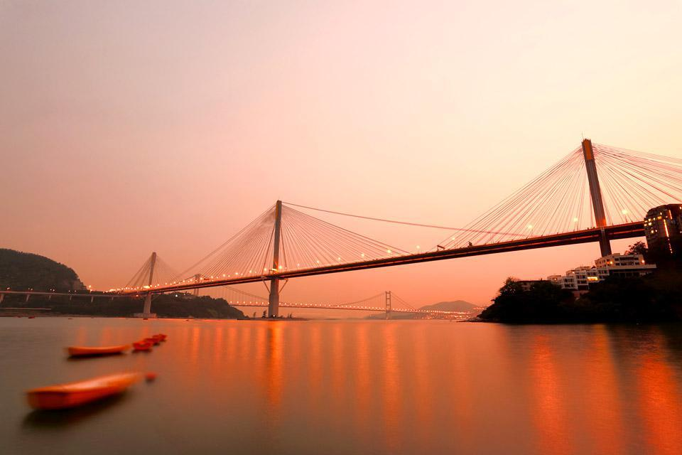 The Tsing Ma Bridge (1.3 miles long), a strategic thoroughfare that connects Hong Kong and Lantau Island where the international airport is situated.