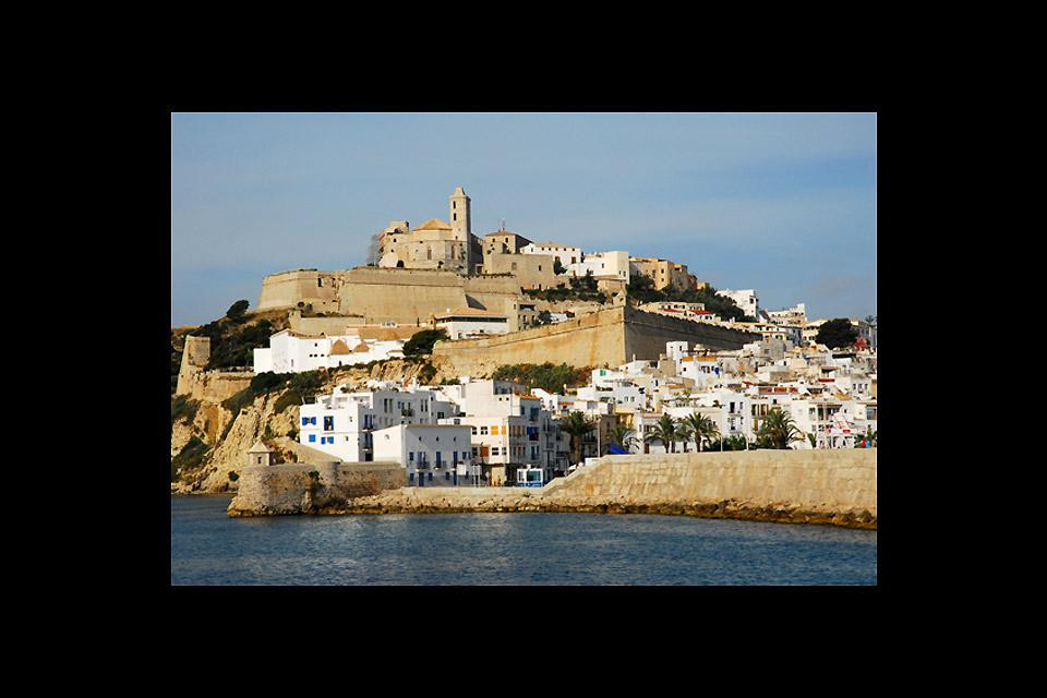 The town of Ibiza was built on a hill in the are surrounding the port.