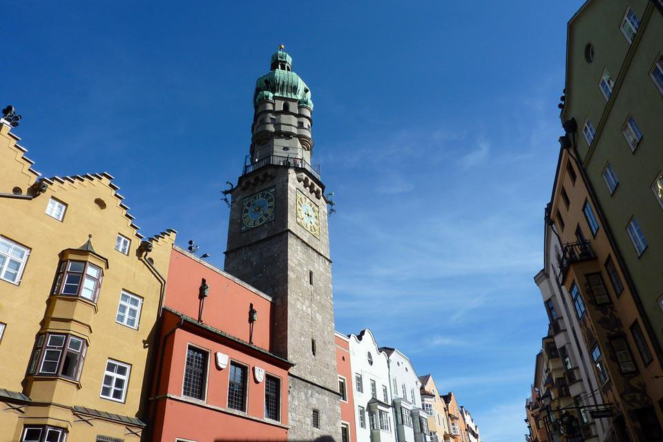 This bell tower is located in one of the most famous streets in Innsbruck: Maria Therezien Straße.