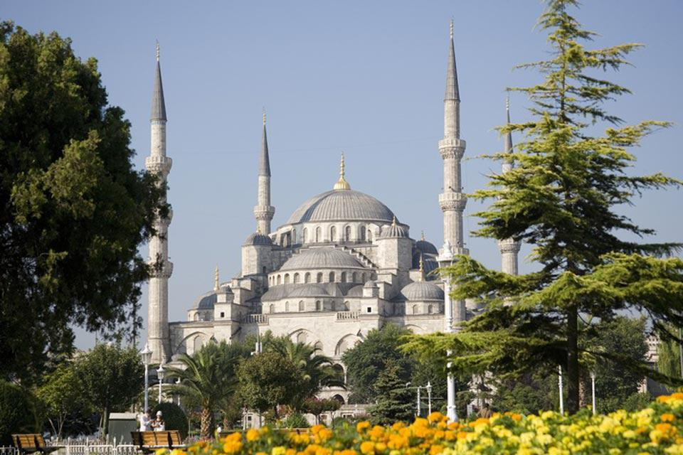 The Sultan Ahmed Mosque, dating from the 17th century, is nicknamed the Blue Mosque, for its blue tile interior