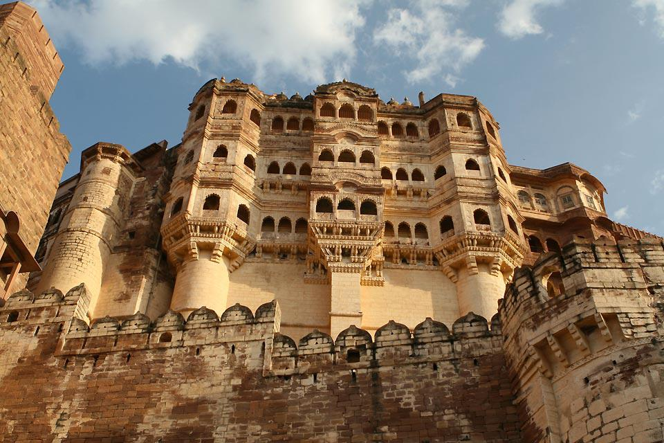 The fort is located on top of a 150-metre tall hill overlooking the town; the original construction, started by Rao Jodha in 1459, has been modified countless times by his successors.