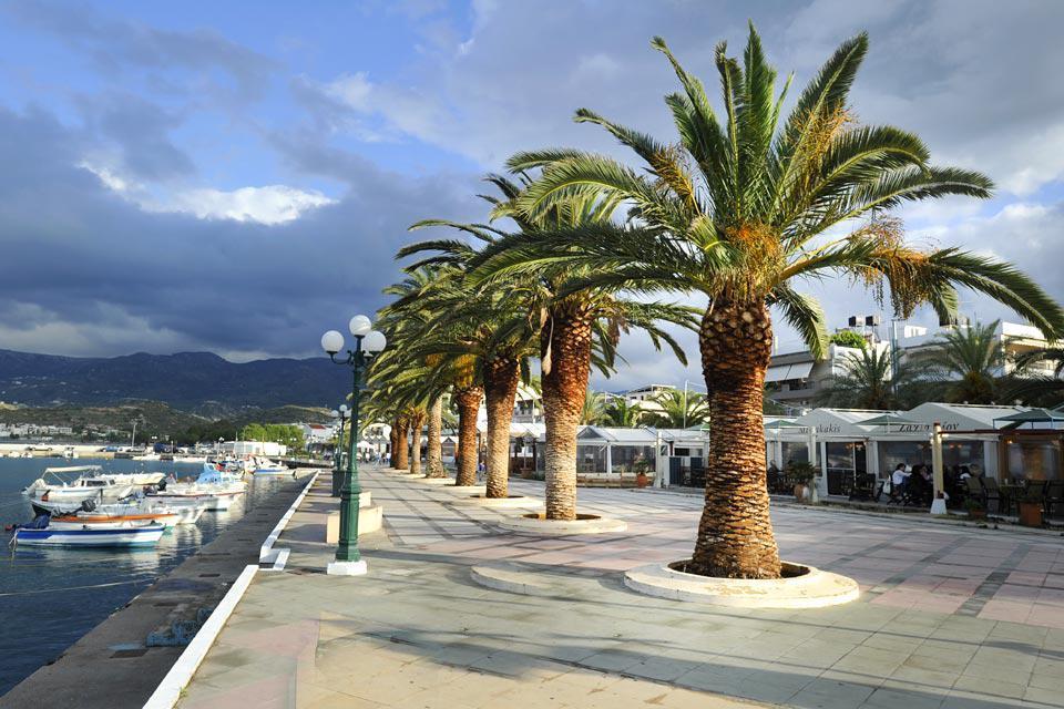 La promenade piquée de palmiers fait une ballade agréable sur les quais du port, le long des terrasses des bars et des restaurants.