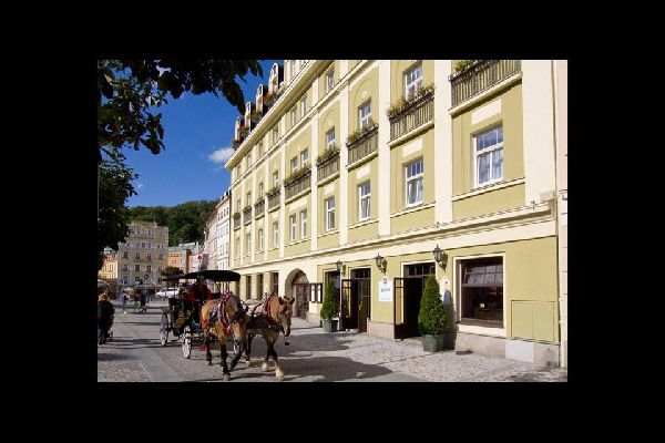 A horse-drawn coach against the backdrop of a row of houses in Karlovy Vary.