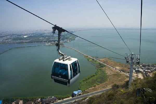 La ciudad de Kunming se encuentra junto al lago Dian Chi, uno de los lagos de agua dulce más grandes de China.