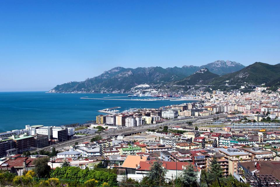 The city is located in the gulf of Salerno, bordered on the west by the Amalfi Coast and the east coast of Cilento.