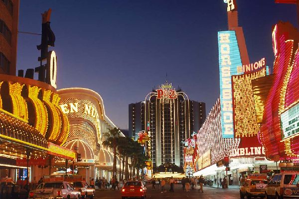 A section of Las Vegas' famous 'Strip' of casinos, hotels and shops