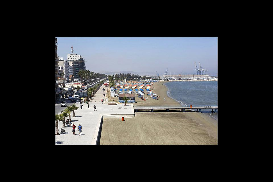 Athinon Avenue is both the center and the promenade of Larnaca, much frequented by tourists and locals alike.