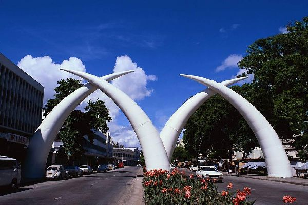 Standing at the entrace to the city are two huge sets of elephant tusks.