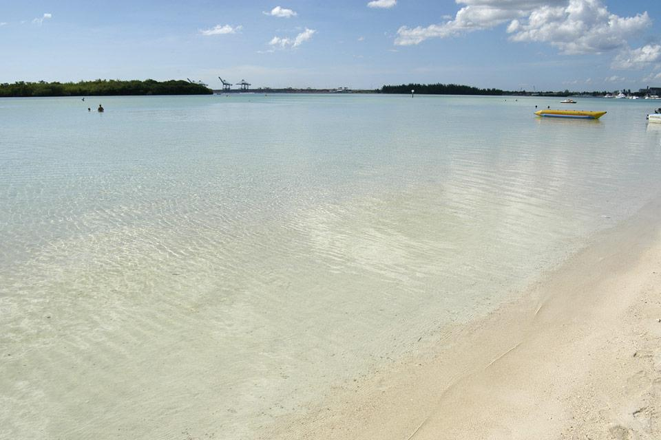 The lagoon is protected by a coral reef.