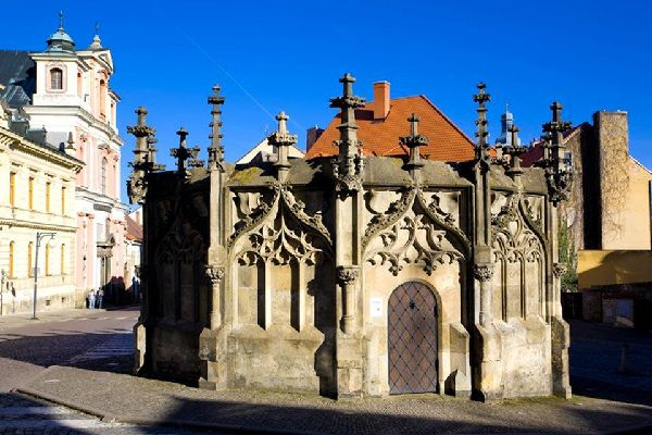 This stone fountain stands on Rejsek Square in the historic old centre of Kutna Hora.
