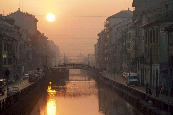 Milan : The Naviglio at sunset - Italy