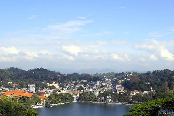 An ornamental lake in Kandy, the capital of the Central Province.