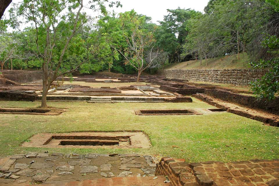 Ruins in Sigiriya rock in Kandy.