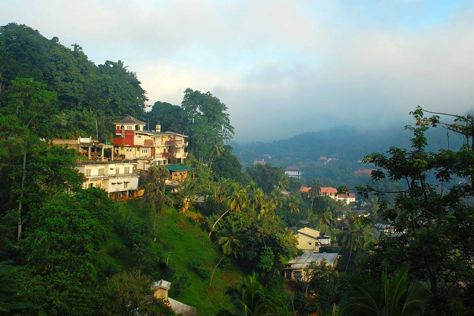 La ville de Kandy, connue pour son Temple de la Dent qui abrite une relique du Bouddha, est située entre les vertes collines et la réserve naturelle d'Udawattakelle Forest.