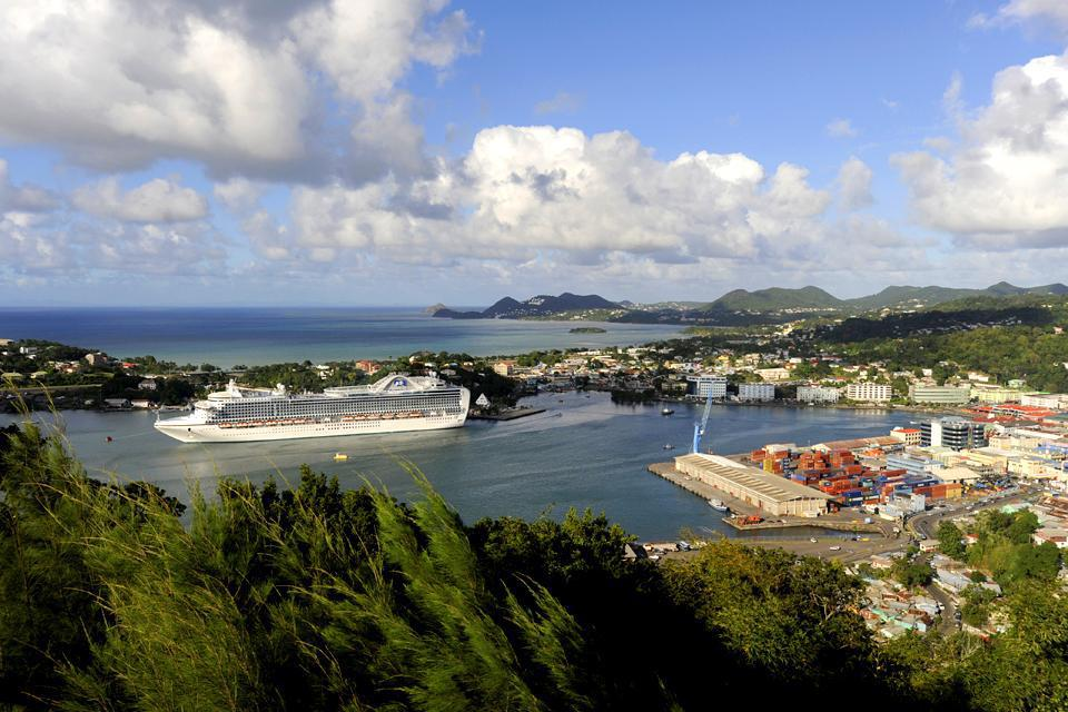 The capital of St. Lucia lies to the north of the island and is also its main port for both goods and cruise ships.