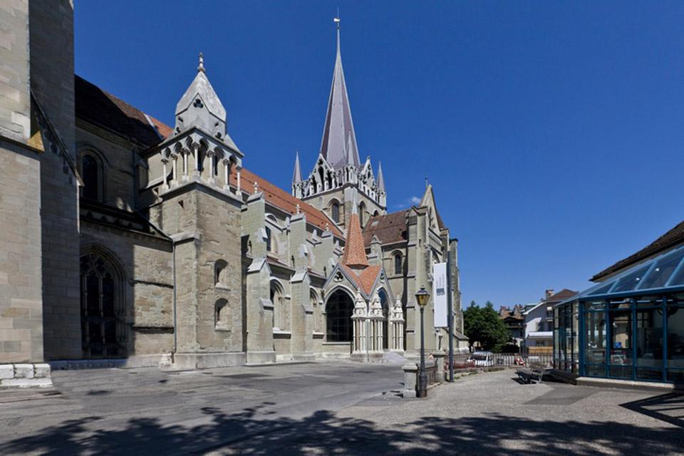 The Cathedral of Notre Dame in Lausanne is a Protestant cathedral. Its construction began in the 12th century.