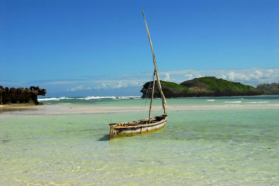 Malindi is found in the middle of a stretch of tropical beaches.