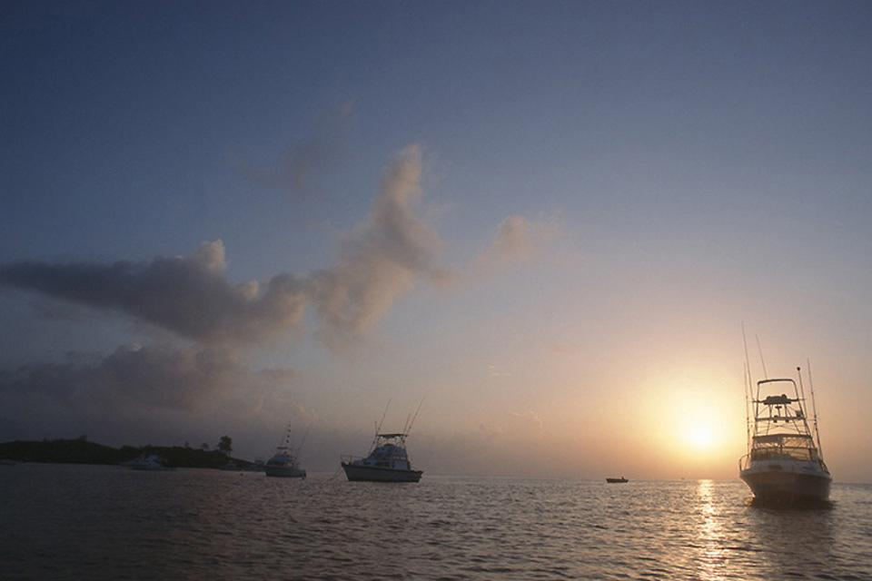 The deepsea fishing have come back for the day, as the sun sets off the coast of Malindi.