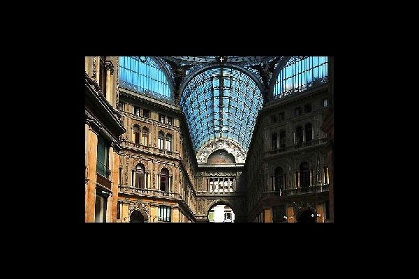 The dome of the Galleria Umberto I rises to a height of 56.7 metres and stands on an octagon 36.2 metres high.