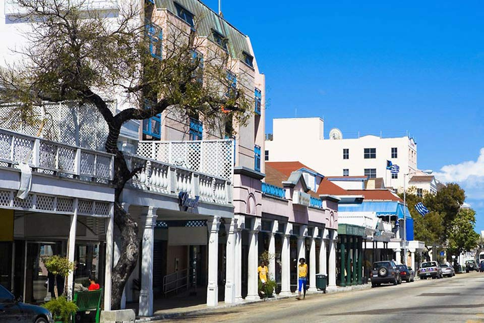 Nassau's city centre is composed of buildings boasting colonial architecture.