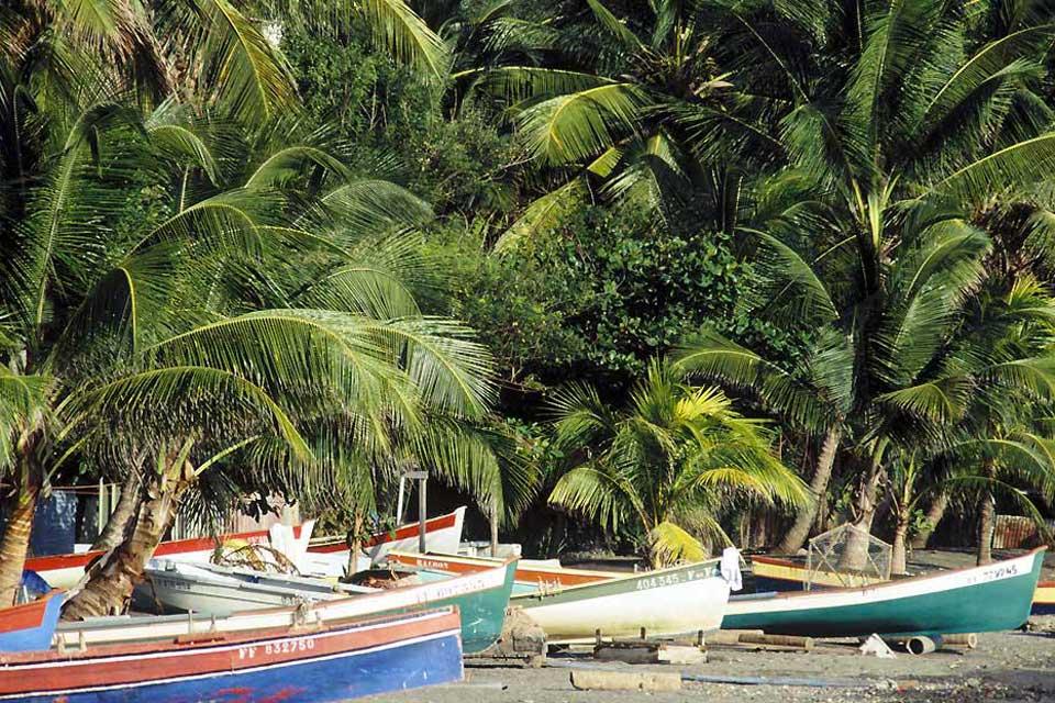 Trois-Ilets auf der gegenüberliegenden Seite der Bucht von Fort-de-France an der Südwestküste Martiniques ist ein sehr lebhafter Badeort mit zahlreichen Hotels, Boutiquen und Restaurants sowie einem kleinen, kreolischen Dorf im traditionellen Stil mit mehreren Geschäften. Ein perfekter Ort zum Einkaufen also, aber auch ein Ausgangspunkt für Exkursionen mit dem Katamaran zur Beobachtung von Delphinen. ...