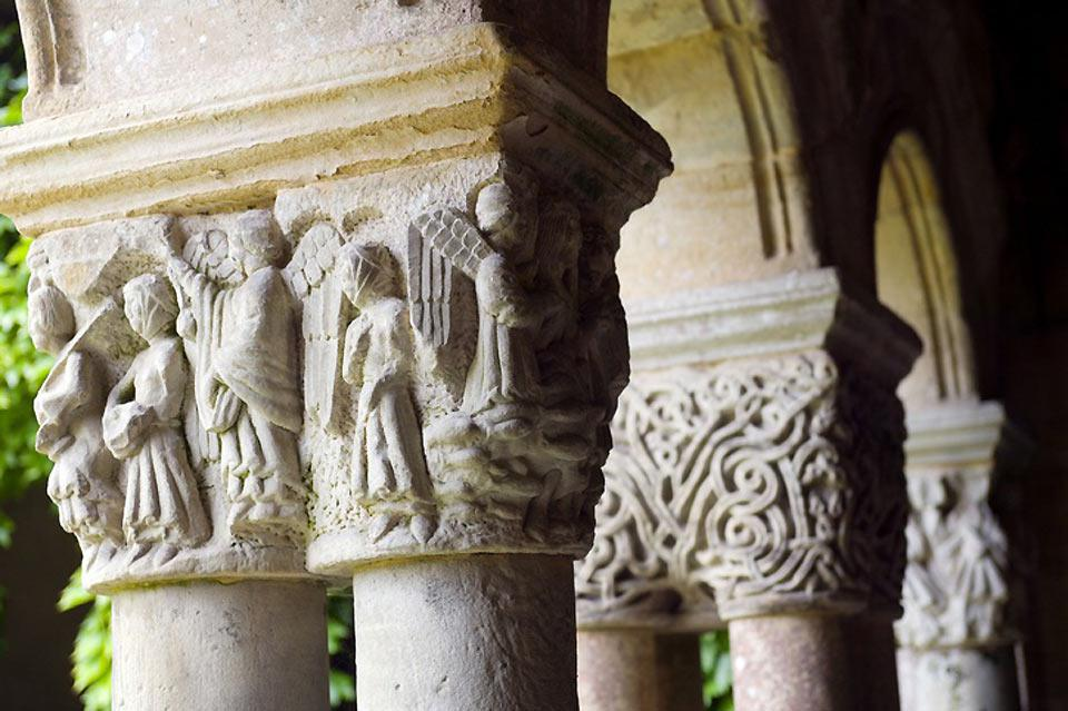 The Romanesque capitals in the Cloister of the Collegiate of Santillana del Mar.