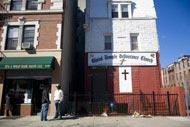One of many churches in Harlem, where the largely black community gather for prayer