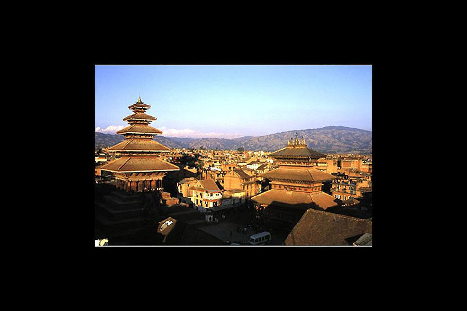 A panoramic view of Bhaktapur with a glimpse of the rooftops of the Bhairabnath Temple.