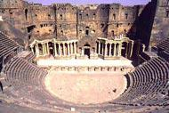 The Roman theatre dates back to the second half of the 2nd century; in the foreground, the black basalt cavea.