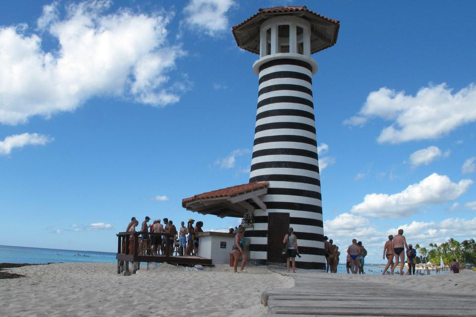 The lighthouse stands on the beach at the Iberostar Hacienda Dominicus.