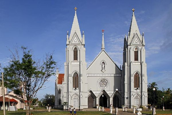 A church in the fishing town of Negombo , Sri Lanka.