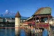 The bridge of Lucerne is the city's main attraction. Along with the Matterhorn, it is the most photographed site in Switzerland.