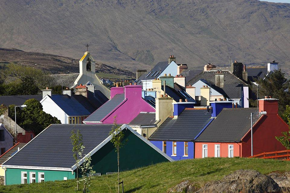 The very colourful houses of a neighbourhood in Cork