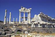 The ancient city still retains the seven Doric columns of the temple of Apollo.