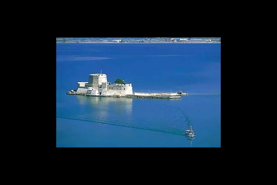 Nafplion is dominated by the Acronafplia and Palamedes fortresses.
