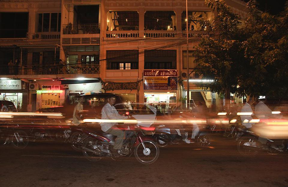 The traffic is very dense in Phnom Penh making the scooter the primary means of transport.