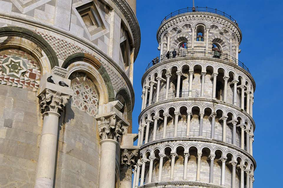 Pisa's belfry, more popularly known as the Leaning Tower of Pisa, is known worldwide for the sharp angle on which it leans.