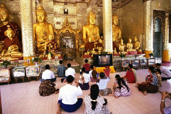 The Golden Pagoda of Shwedagon is one of the most sacred places in Burma.