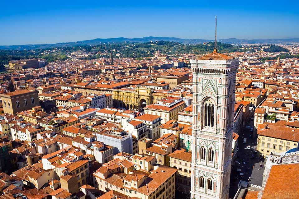 In Florence, wander through the streets around the Duomo, then go on to Piazza San Firenze, where you will find the Bargello (a 13th Century barracks and prison that now houses a broad selection of Florentine sculptures). On the way, you will discover the home of Dante on via Dante Alighieri. Continue to the Mercato Nuovo arcades and end at the splendid Boboli gardens which are on the hill at the end ...