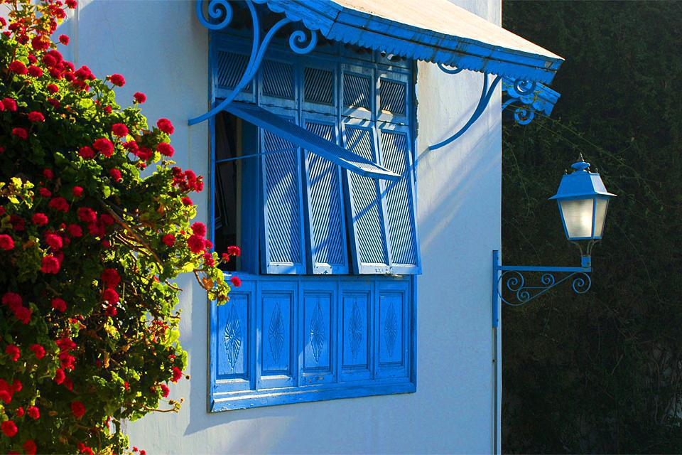 Sidi Bou Saïd, planté au pied du djebel Manâr (montagne de Phare) face à la Grande Bleue, à 17 km au nord-est de Tunis, est le village le plus visité du pays. Ses ruelles immaculées, son bleu limpide inscrit sur portes et fenêtres, ses moucharabiehs mystérieux, ses toits tout en rondeurs et sa douce atmosphère méditerranéenne en font un lieu hors du temps... qu'il est préférable de découvrir hors saison ...