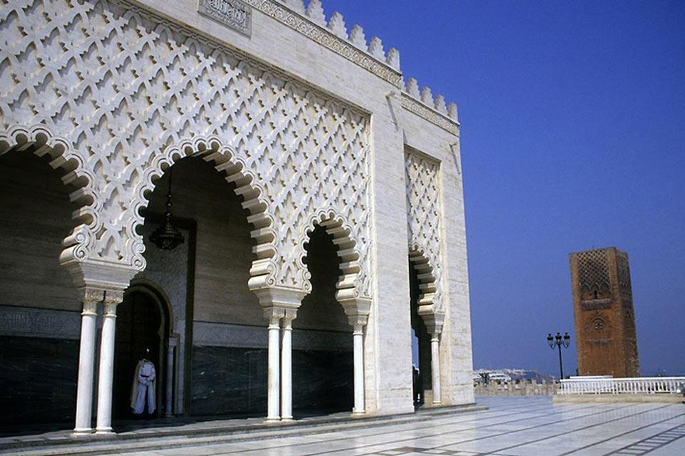 The Mohammed V Mausoleum sits opposite the Hassan Tower, the second great monument of the city.