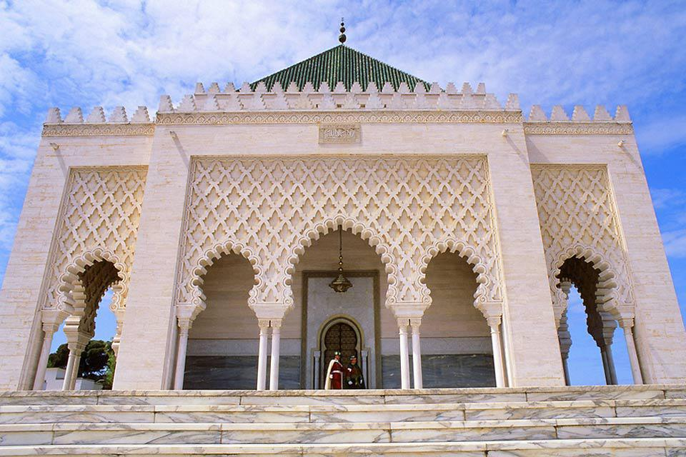 The shrine contains the tombs of the Moroccan king, Mohammed V, and his two sons.