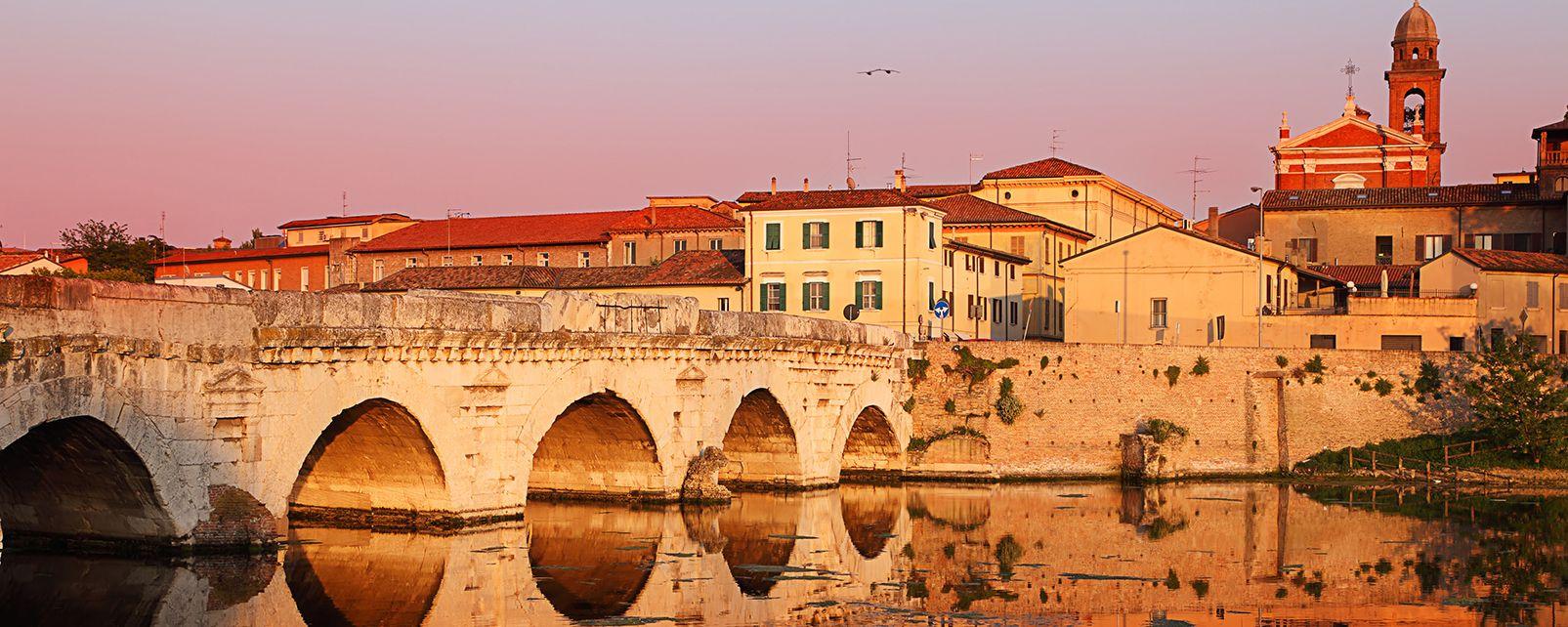 Il ponte di Tiberio, Rimini, Emilia-Romagna, Italia