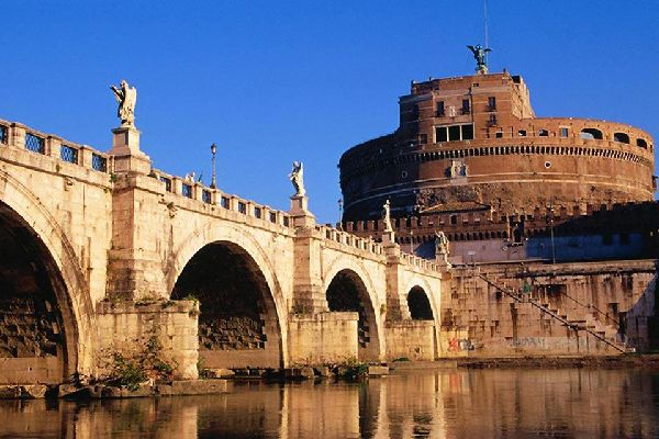 The Castel Sant'Angelo is located on the right bank of the Tiber river, not far from the Vatican. The building was built in the 2nd century AD on the request of emperor Hadrien.