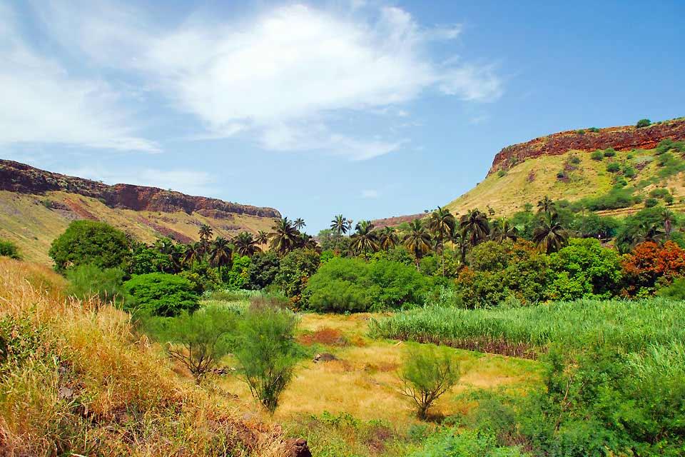 L'île de Fogo se nommait autrefois Sao Filipe, éponyme de sa localité principale. Mais le nom de Fogo (feu) lui convient mieux. L'île s'étendsur 24 km d'Est en Ouest et sur 26 km du Nord au Sud. Le pico, le point culminant de l'île et de l'archipel culmine à 2 829 mètres d'altitude. Grâce au volcan, les terres sont très fertiles et l'on y cultive des vignes (pour produire le célèbre vin de Fogo, ...