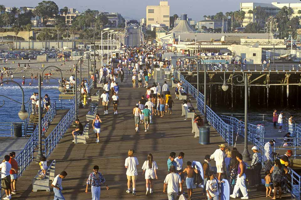 Santa Monica Pier is over 100 years old and houses an amusement park, ferris wheel, aquarium, shops, restaurants and bars