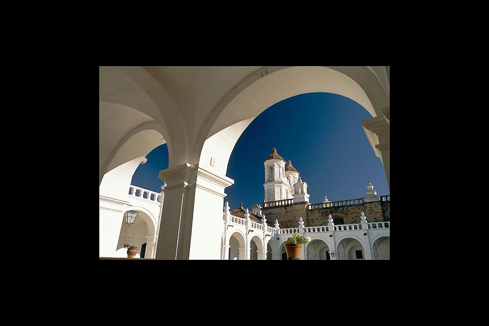 Basilica di San Francesco. La città di Sucre è stata dichiarata patrimonio dell'UNESCO nel 1991