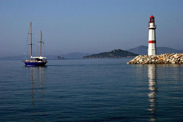 The port of Bodrum runs along the Gulf of Cos in the Aegean Sea.